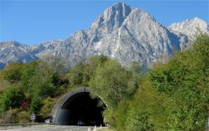 Tunnel entrance in mountain