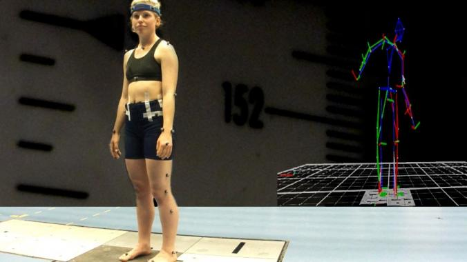 Anna Bergstrom stands with electrodes all over her body. Her body is recreated digitally in the second image.