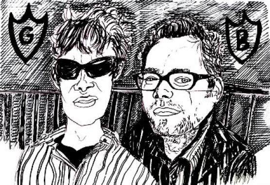 A pen drawing of Gabriel Hardistry-Miller and Ben Connors.