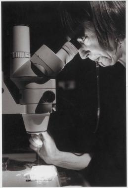 Helen Chadwick looking inside a microscope, and sucking on a tube.