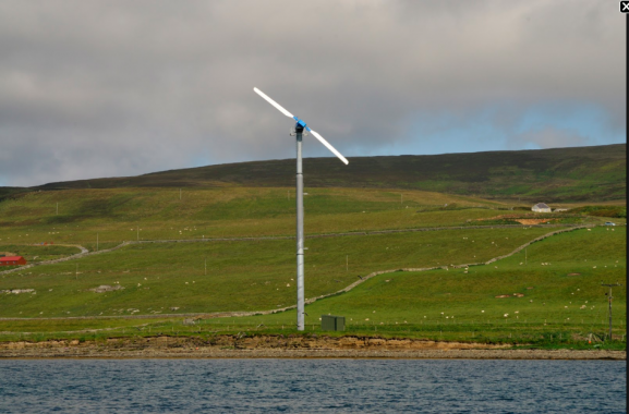 A single wind turbine, placed between a small hill and large expanse of water.