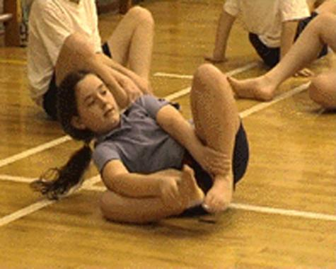 A Year 6 student trying a balancing experiment, Langafel School, Zero Gravity project