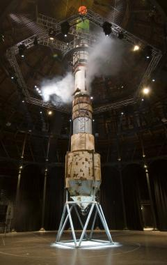 A 22 foot rocket constructed from junk.
