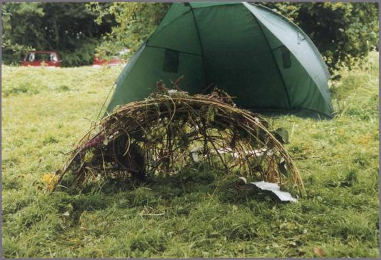 Children from Sevenoaks Primary School recreate a Bower Bird nest using wooden sticks and junk.