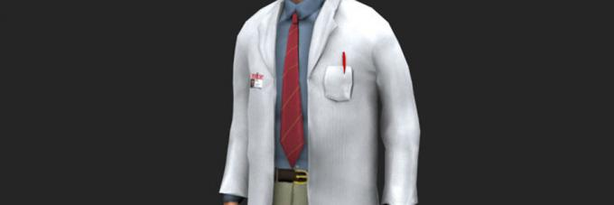 A digital illustration of a scientist wearing a lab coat.