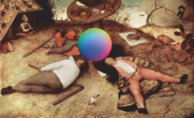 Illustrated image of a multi-coloured orb floating above men lying in a surreal landscape.