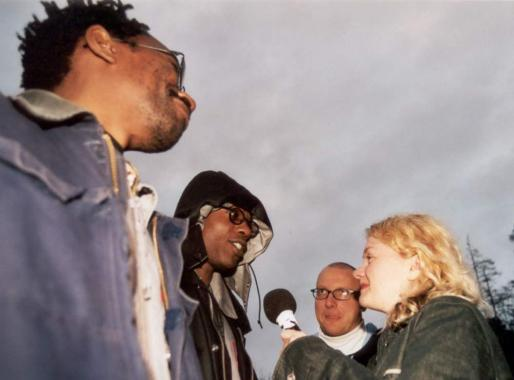 Trevor Mathison and Edward George interviewed by Judith Palmer, Star City, 2001. Photo: The Arts Catalyst